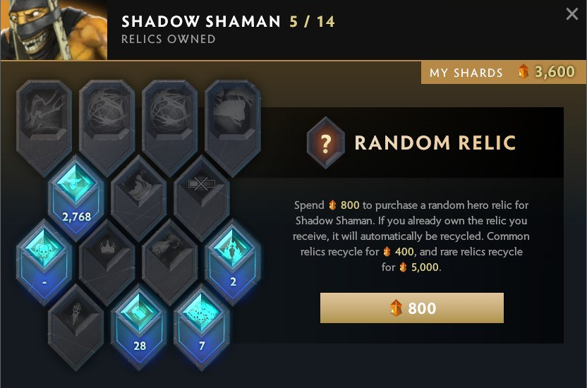 Dota Plus Relic Shards screenshot